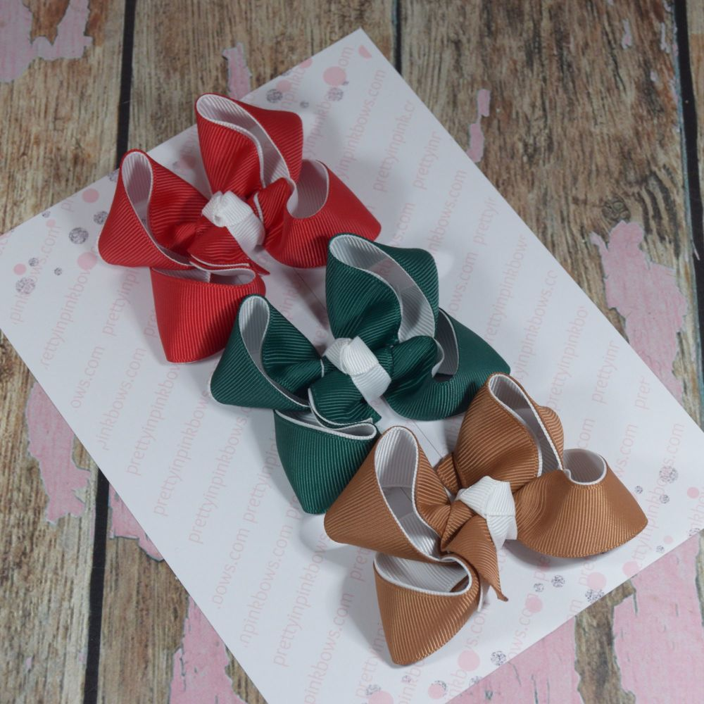 Double Layer Boutique Bow Set Red, Green & Gold