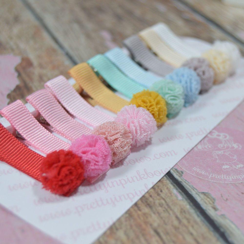 Ruffle Pompoms Clippie Set - Pastel set on Duck clips