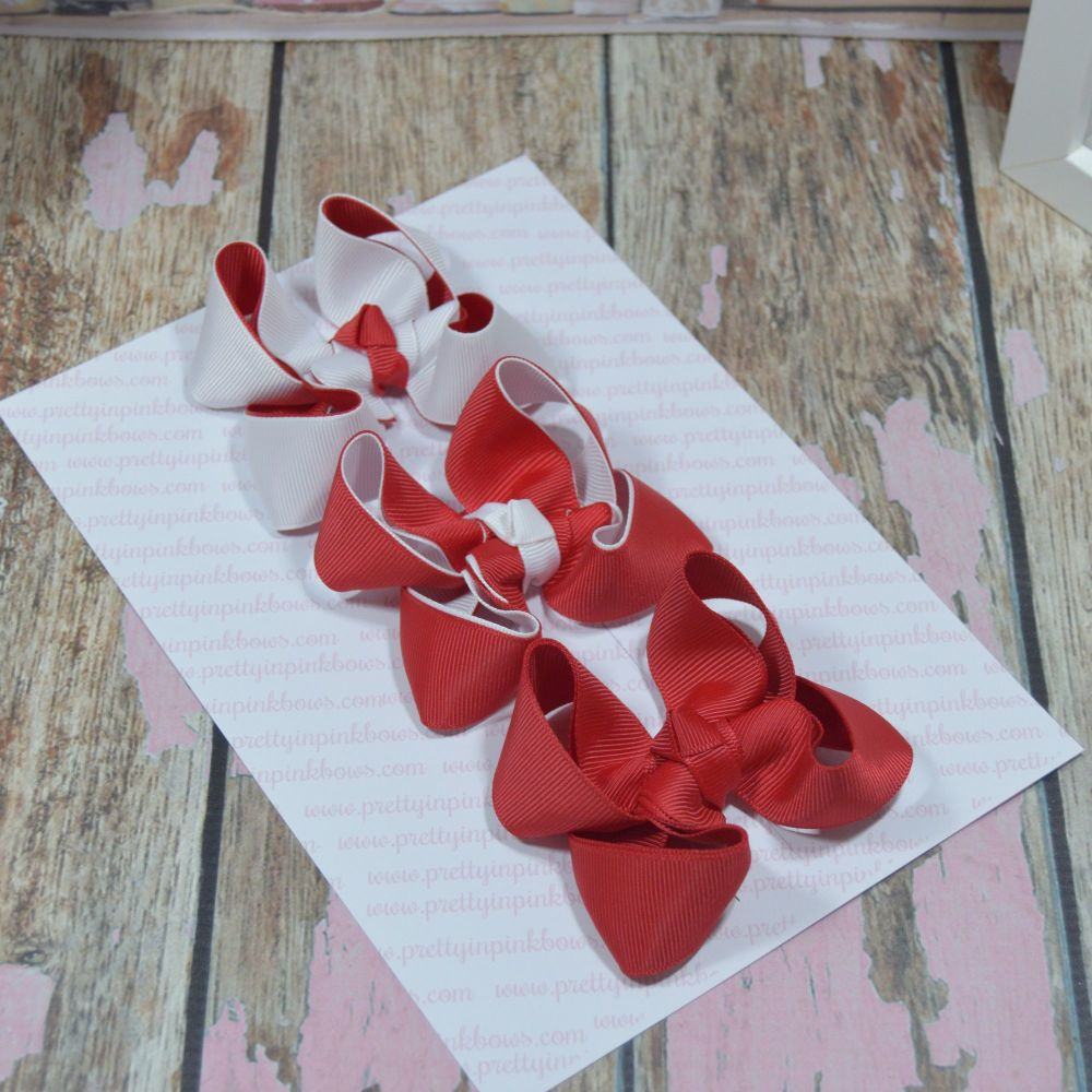 Double Layer Boutique Bow Set white and red