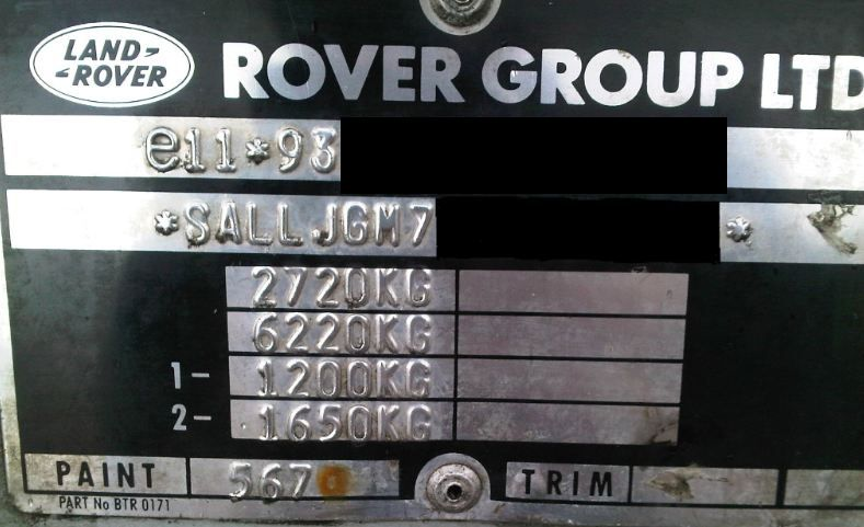 Example Of A Car's VIN Weight Plate To Find Towing Limit