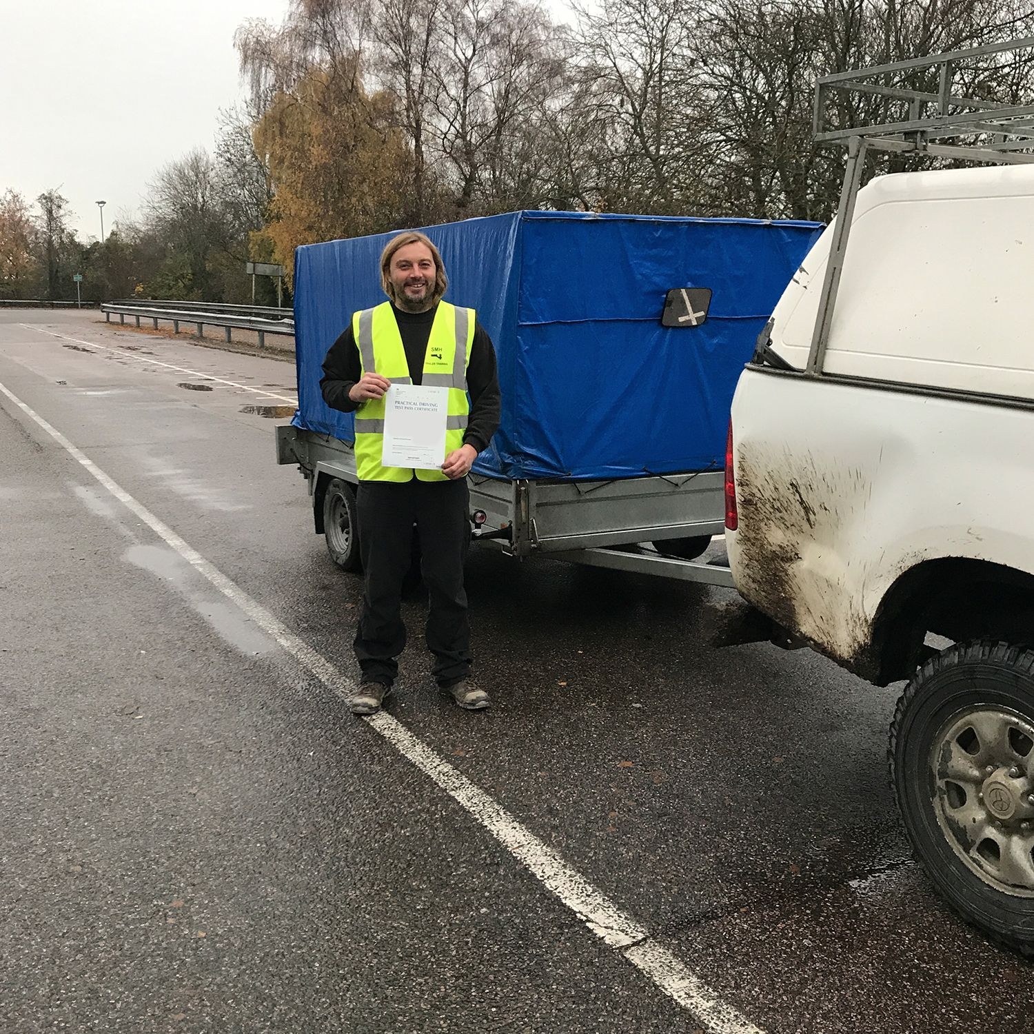 Piers who passed his BE trailer towing test in Gillingham Kent
