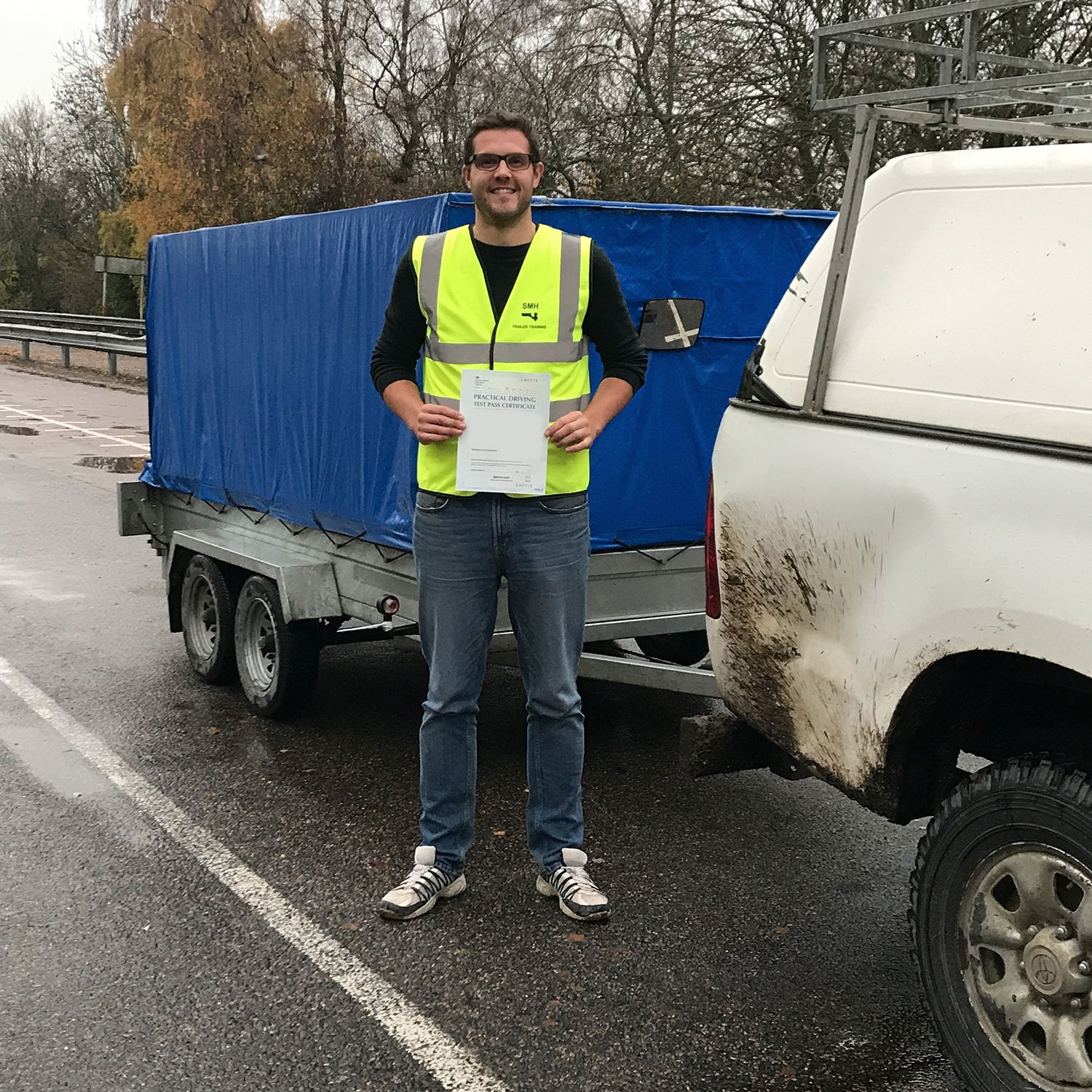 Lee who passed his BE trailer towing test in Gillingham Kent