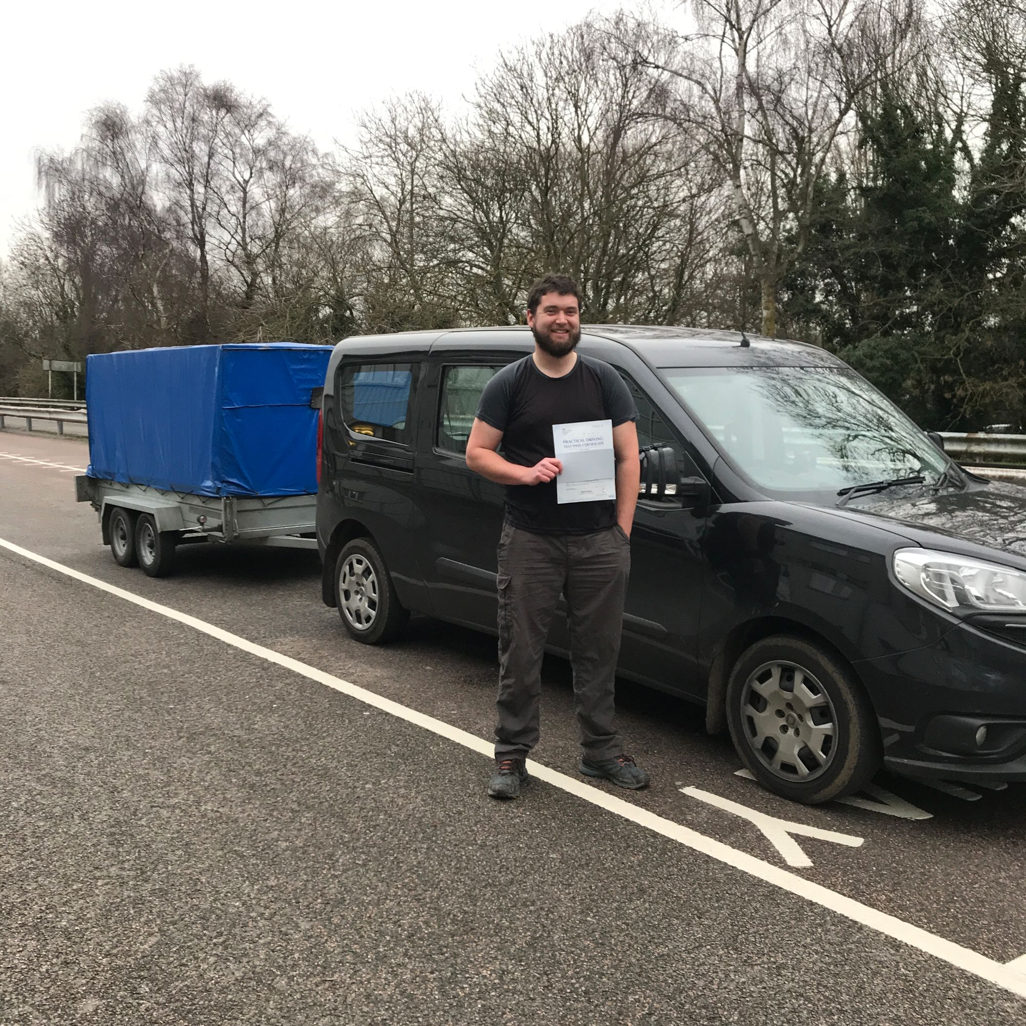 David who passed his BE trailer towing test in Gillingham Kent