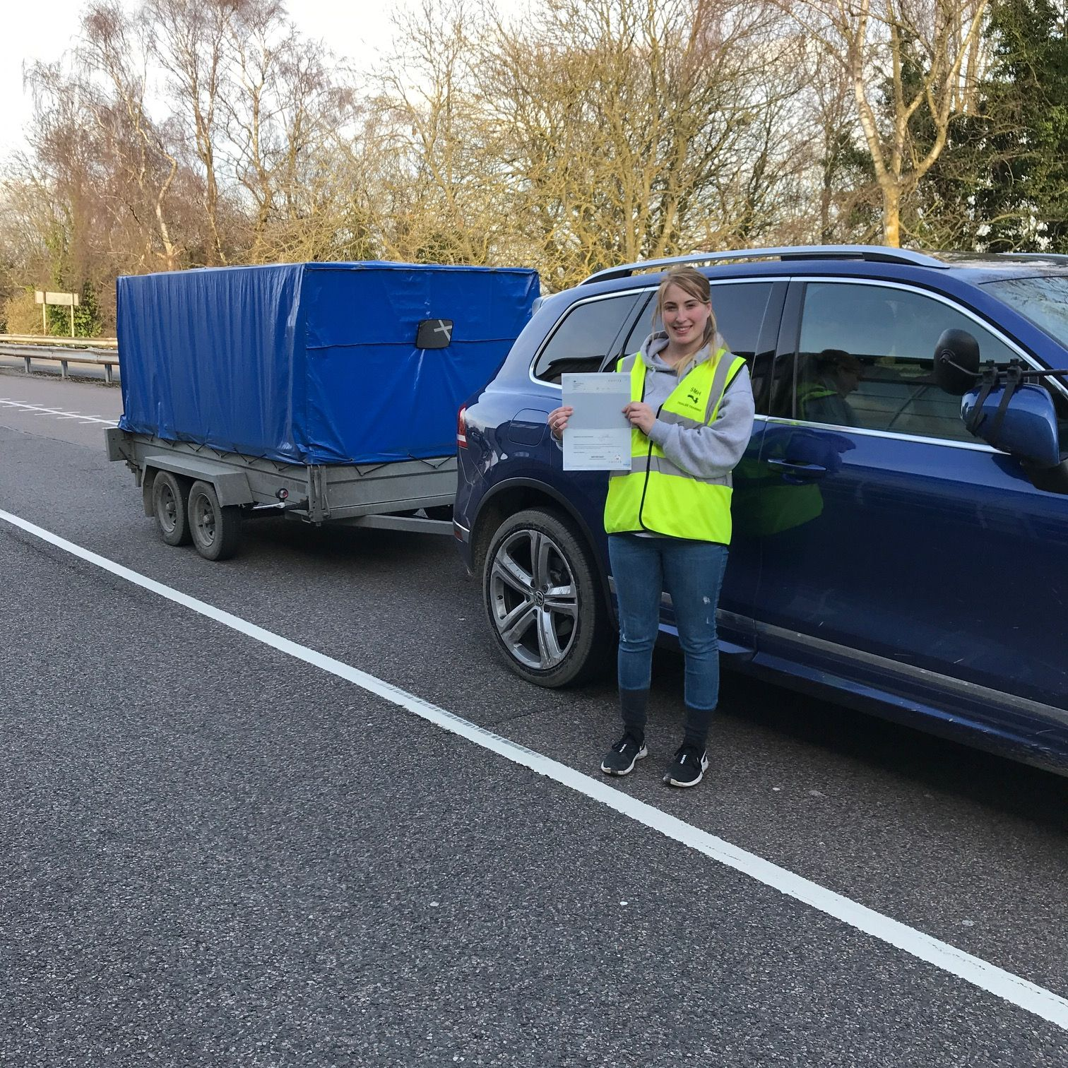 Sophie who passed her BE trailer towing test in Gillingham Kent