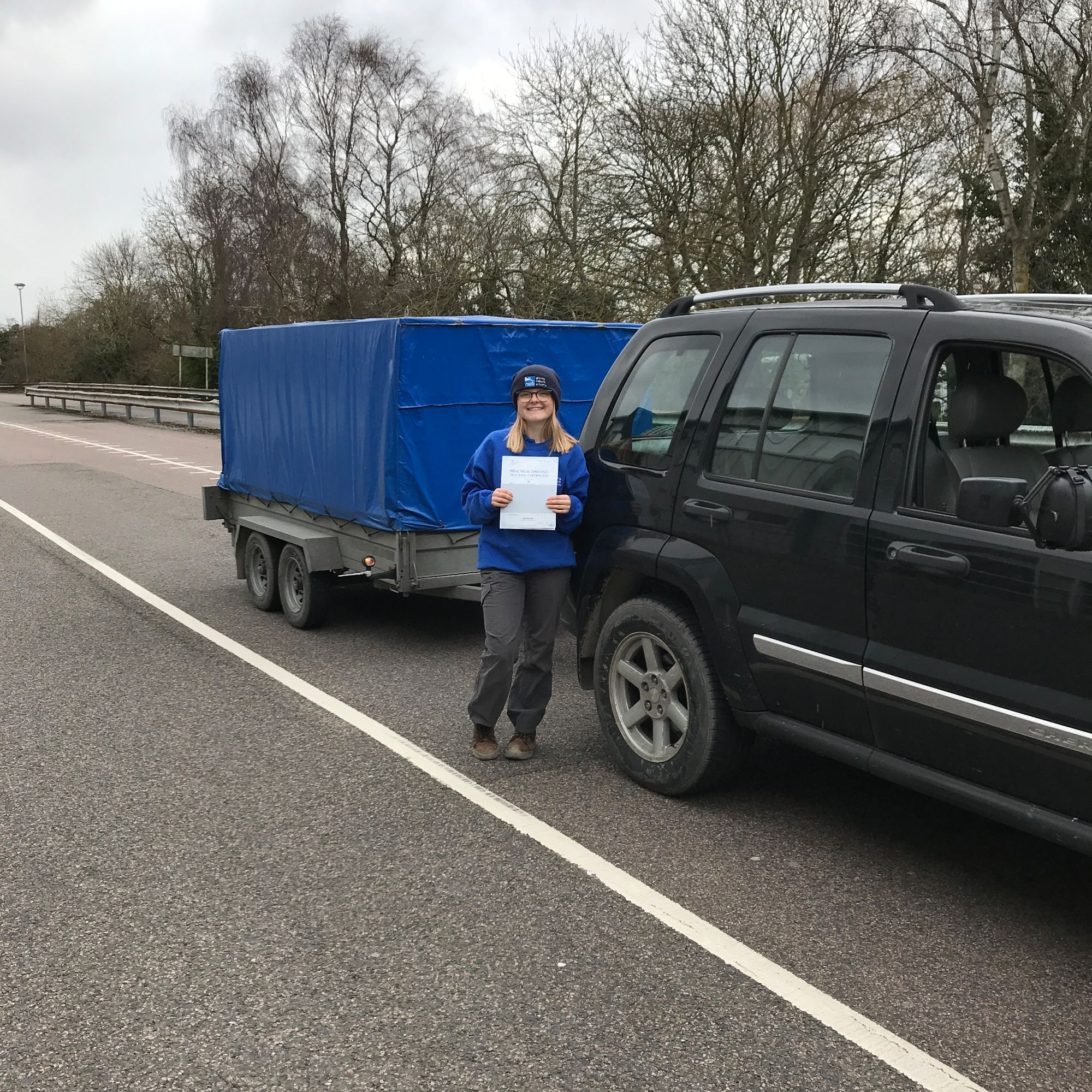 Alice who passed her BE trailer towing test in Gillingham Kent