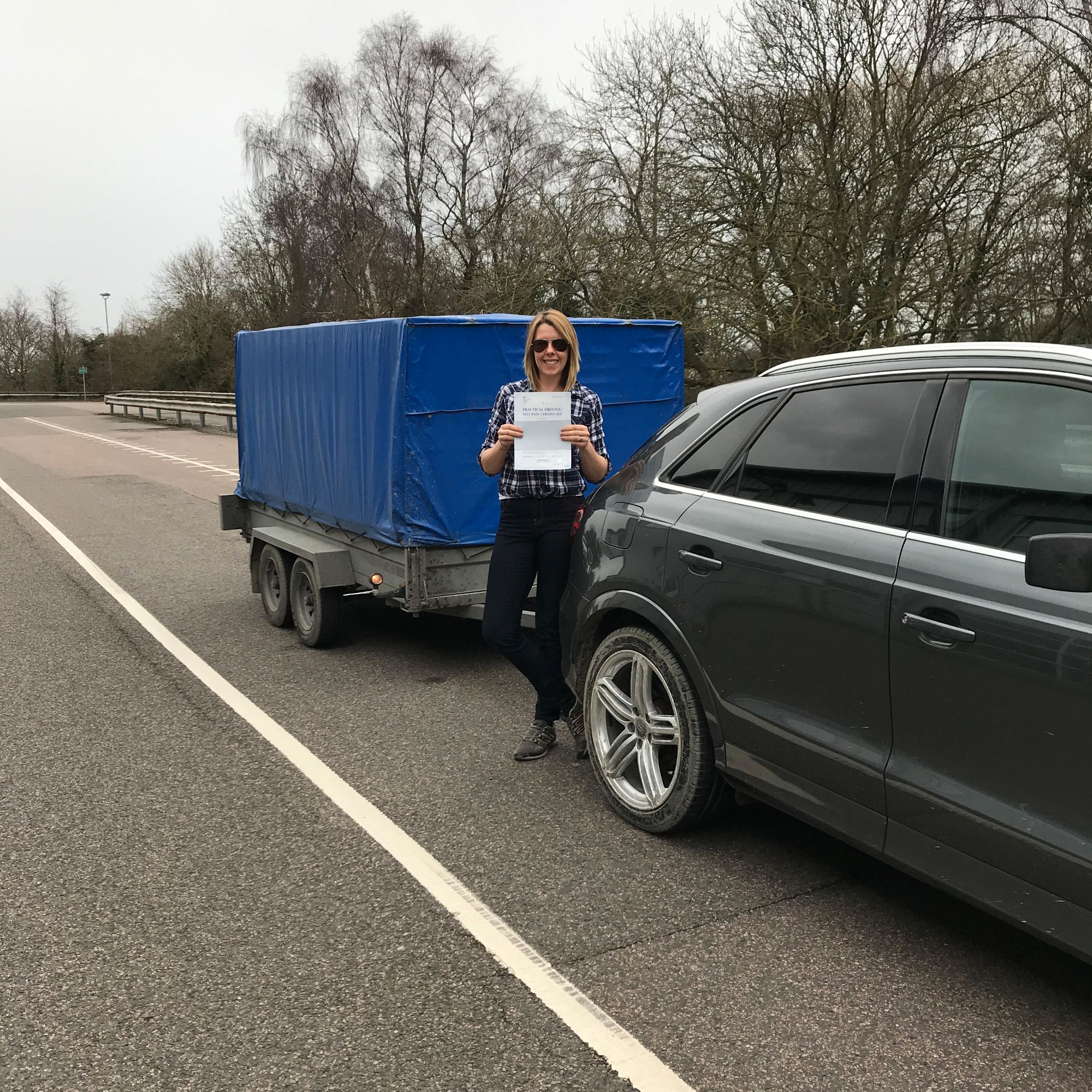 Cassi who passed her BE trailer towing test in Gillingham Kent