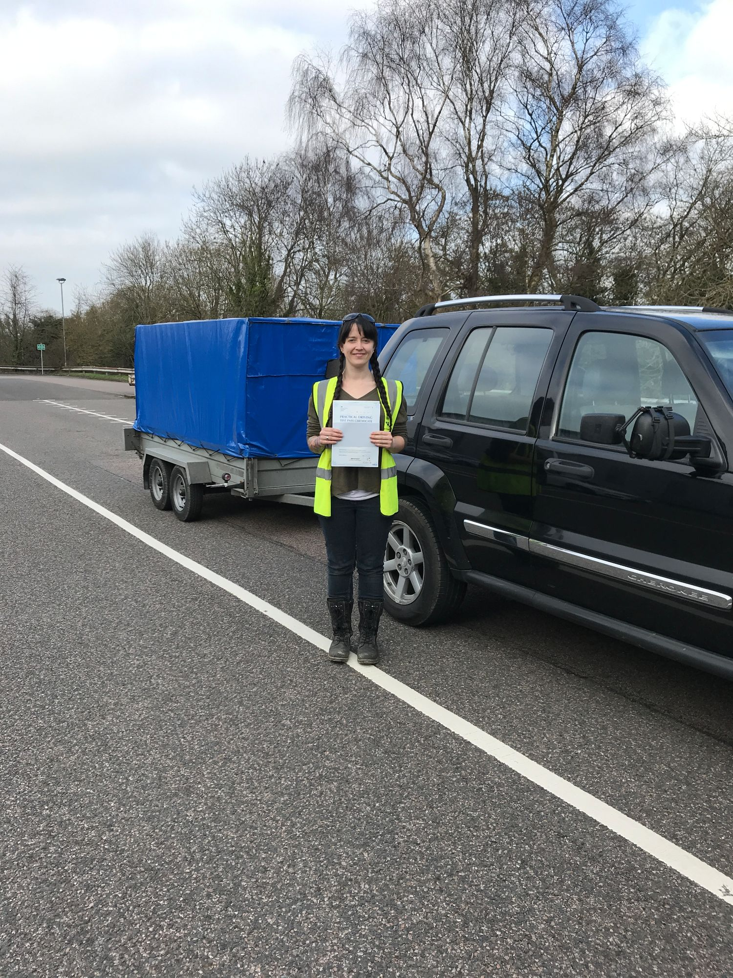 Christine who passed her BE trailer towing test in Gillingham Kent