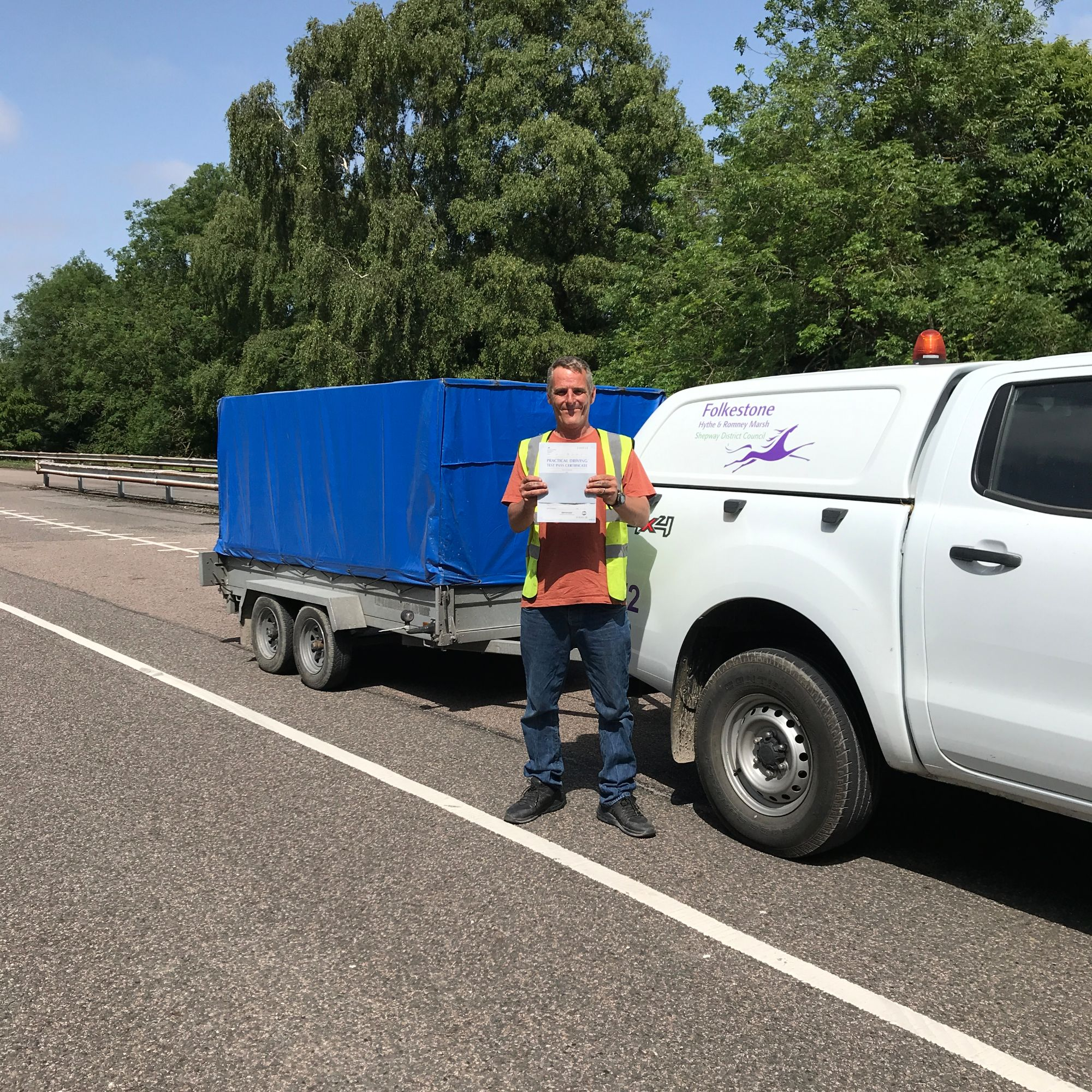 Darren who passed his BE trailer towing test in Gillingham Kent