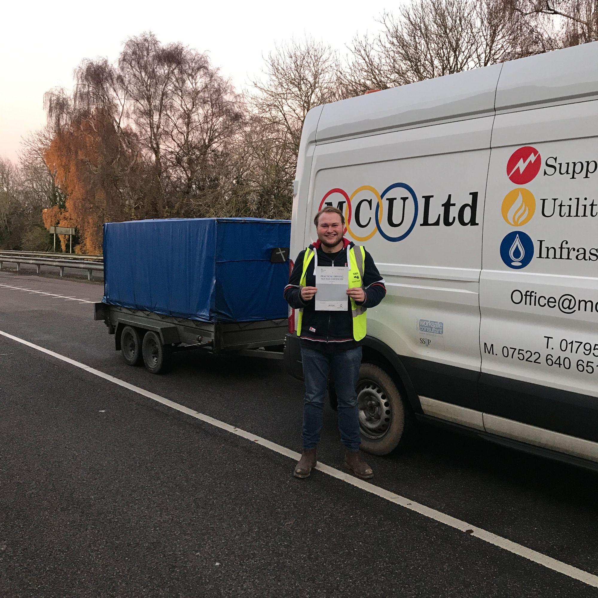 Mick's son Aaron who passed his BE trailer towing test in Gillingham Kent