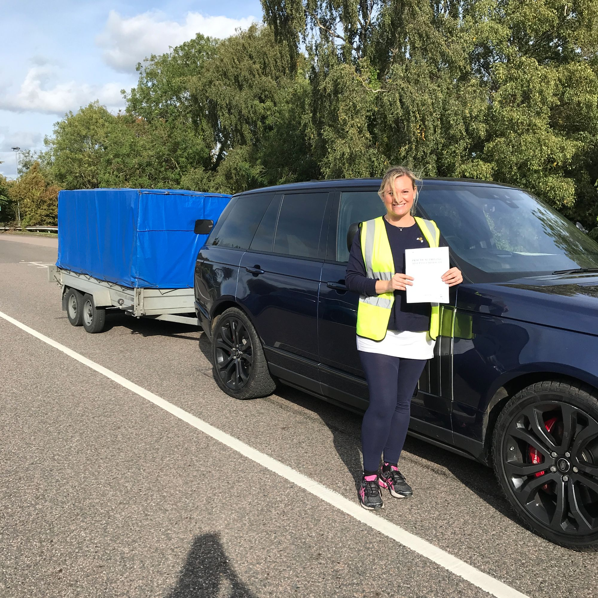 Emily who passed her BE trailer towing test in Gillingham Kent