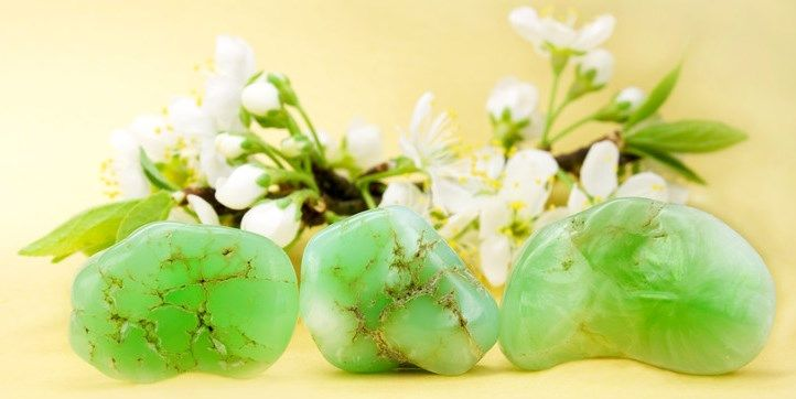 3 green chrysoprase with white blossom