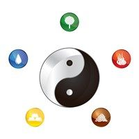 Yin Yang with elements around