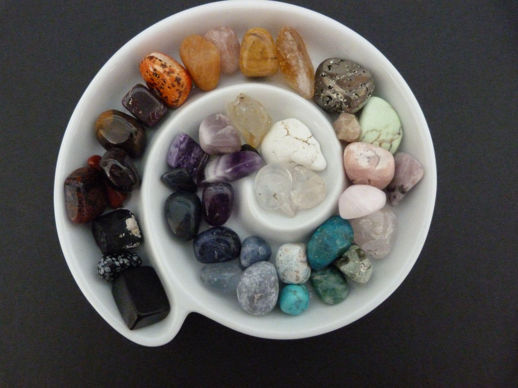 Dish of crystals