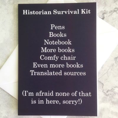 A purple card with a list of items in a Historian Survival Kit in white tex