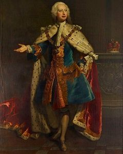 Frederick in a blue and gold coat and a fur-lined red robe of state