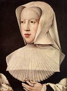Margaret of Austria in a black dress with a white headdress