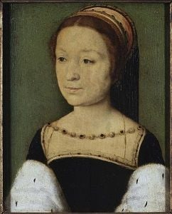 Madeleine of Valois in a black dress with white fur draped over her arms.