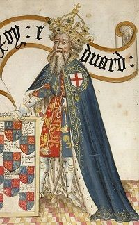 King Edward III in blue robes with a crown on his head.