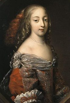 Athenais de Montespan with long curly hair, wearing a red and silver dress trimmed with lace