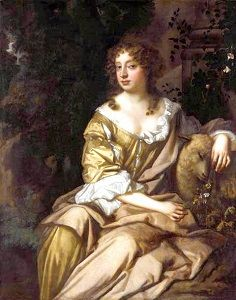 Nell Gwyn in a yellow dress, with a sheep under one arm