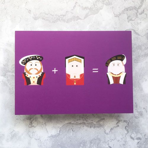 A horizontal greetings card with a purple background. From left to right th