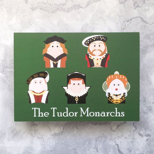 A green greetings card with images of the five Tudor monarchs.