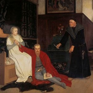 Painting of Karin Mansdotter holding the hand of King Erik as he sits on the floor looking shocked. Image from the Nationalmuseum Stockholm.
