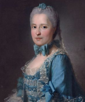Maria Josepha of Saxony in a blue dress with white lace and blue ribbons across the chest and sleeves.