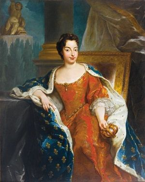 A portrait of Maria Anna Victoria of Bavaria, Dauphine of France, wearing an orange dress with lace elbow-length sleeves and a cloak in dark blue with gold fleur-de-lis.