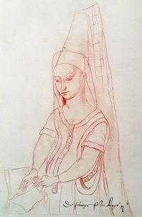 A sketch of Margaret Stewart, with a tall pointed headdress and veil, and a book in her lap.