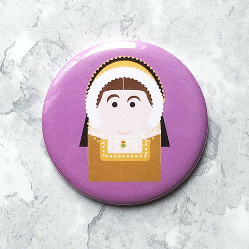A round pink fridge magnet with an image of Catherine Howard.