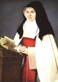 Portrait of Joan of Valois dressed as a nun, with an open book in front of her.