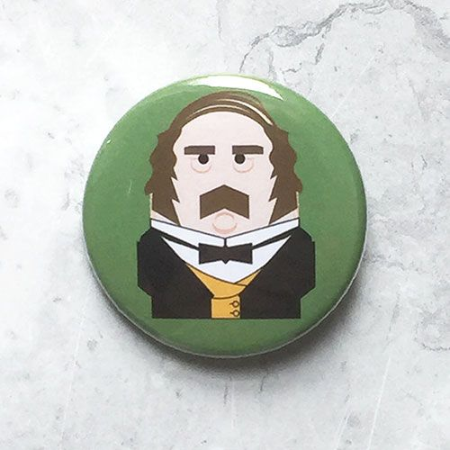 A round green badge with an original illustration of Prince Albert.