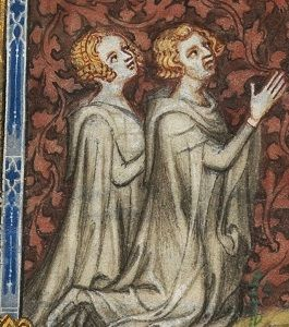A manuscript image of Bonne of Luxembourg and her husband King John II of France.