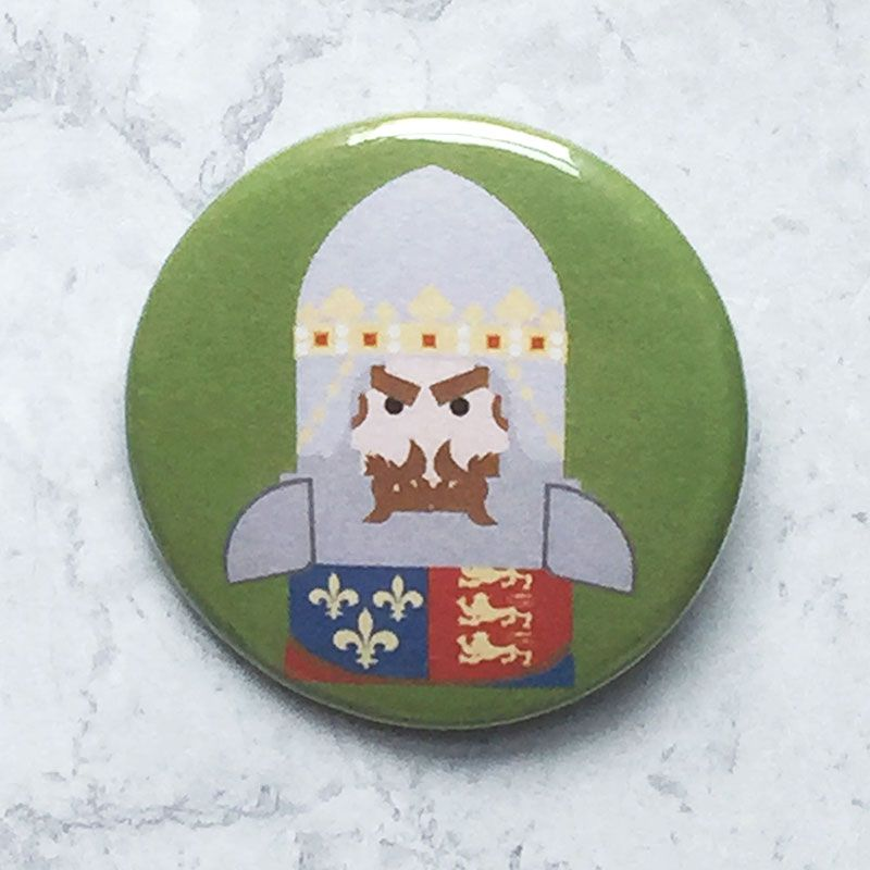 A round green badge with an image of the Black Prince.