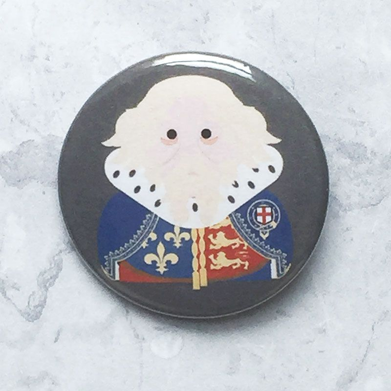 A round grey badge with an image of King Edward III.