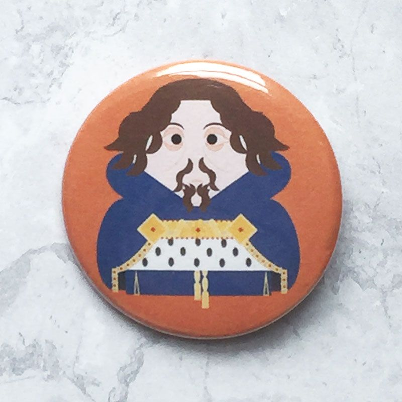 A round orange badge with an original image of Henry IV.