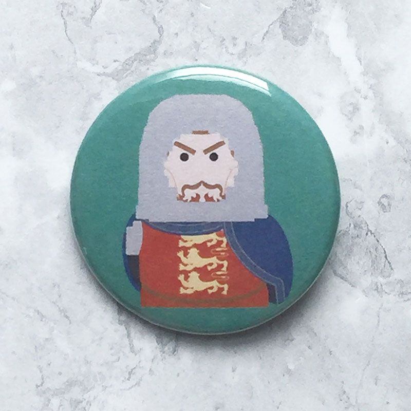 A round teal badge with an original image of Richard I.