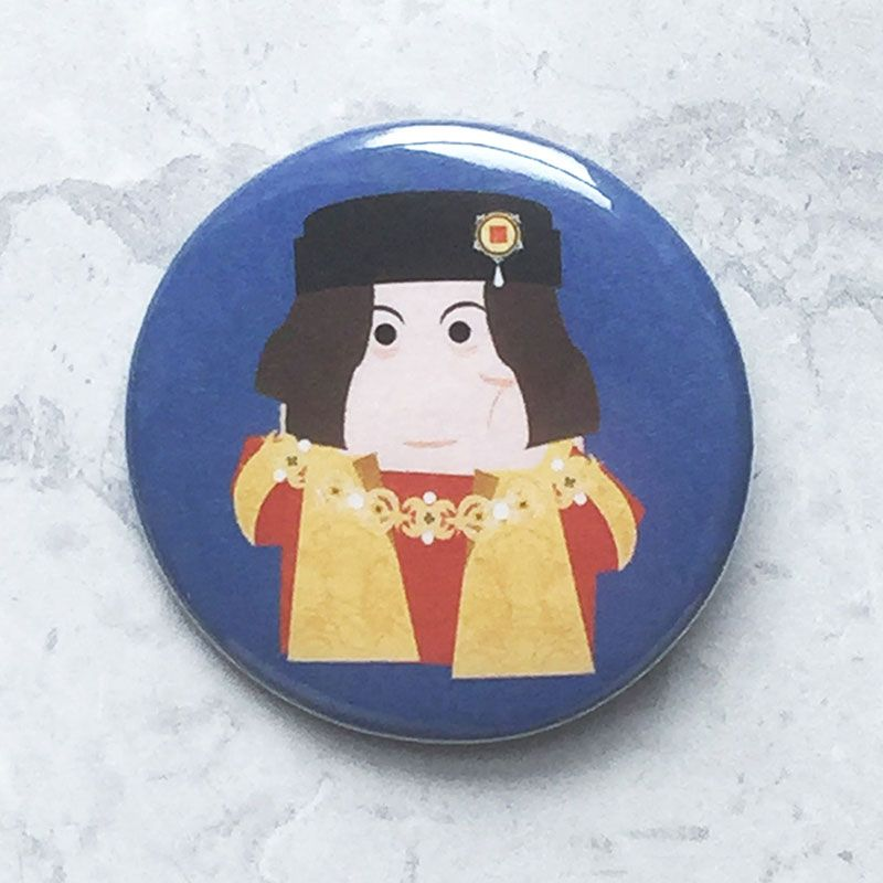 A round blue badge with an original image of Richard III.