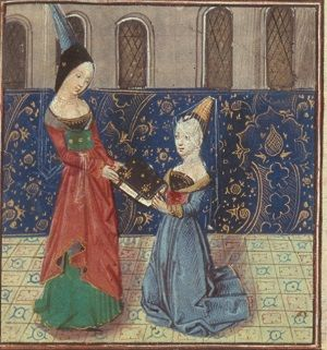 Margaret of Nevers in a red and green gown, being presented with a book by Christine de Pisan.