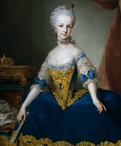 Maria Josepha of Austria in a dark blue dress with white lace sleeves.