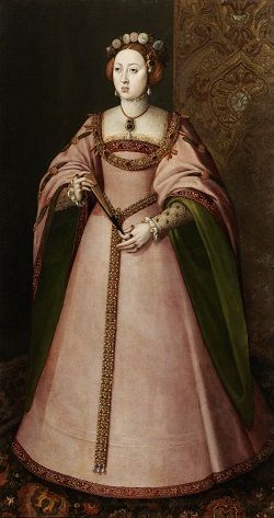 Full-length portrait of Maria Manuela of Portugal, wearing a pink gown and holding a fan.