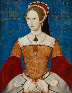 Portrait of Queen Mary I of England, in an orange dress with a blue background.
