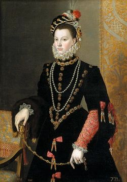 Portrait of Elisabeth of Valois in a black gown, embellished with jewels, wearing a black cap decorated with pearls.