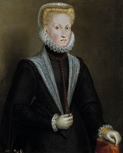Portrait of Anna of Austria, Queen of Spain, wearing a black gown embellished with white lace.