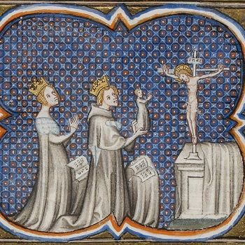Adela of Champagne and King Louis VII of France, presenting their son Philip to a statue of Jesus.