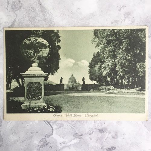 A black and white image of the grounds of the Villa Doria Pamphili in Rome.
