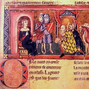 Medieval image of King Baldwin I of Jerusalem receiving homade in Edessa, with two soldiers in the background.
