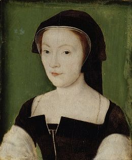 Portrait of Mary of Guise wearing a black hood and black dress.
