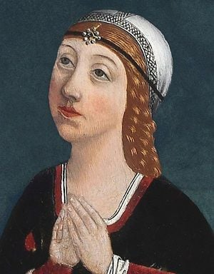 Image of Isabella of Aragon, looking up and to the left, with her hands clasped in prayer.